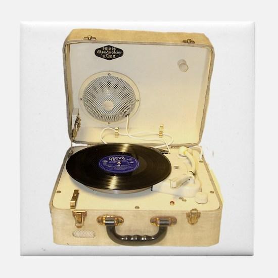 Vintage 1950s record player for vinyl Tile Coaster
