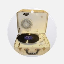 Vintage 1950s record player for vin Round Ornament