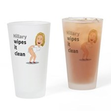 Hillary Wipes It Clean Drinking Glass