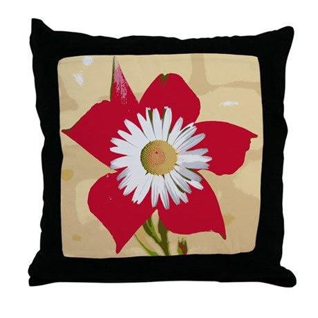 Red and White Retro Floral De Throw Pillow