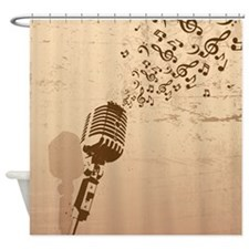 Vintage Microphone Music Notes Shower Curtain