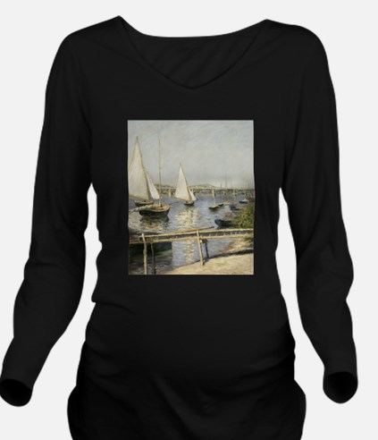 Caillebotte Sailing Long Sleeve Maternity T-Shirt