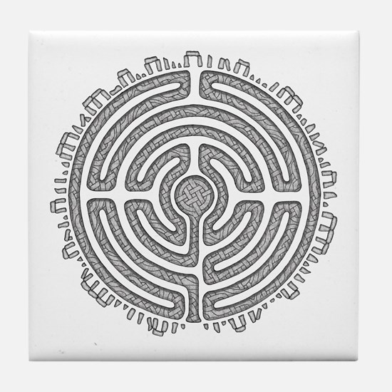 Celtic Labyrinth Mandala Tile Coaster