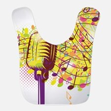 Colorful Retro Microphone Music Notes Bib