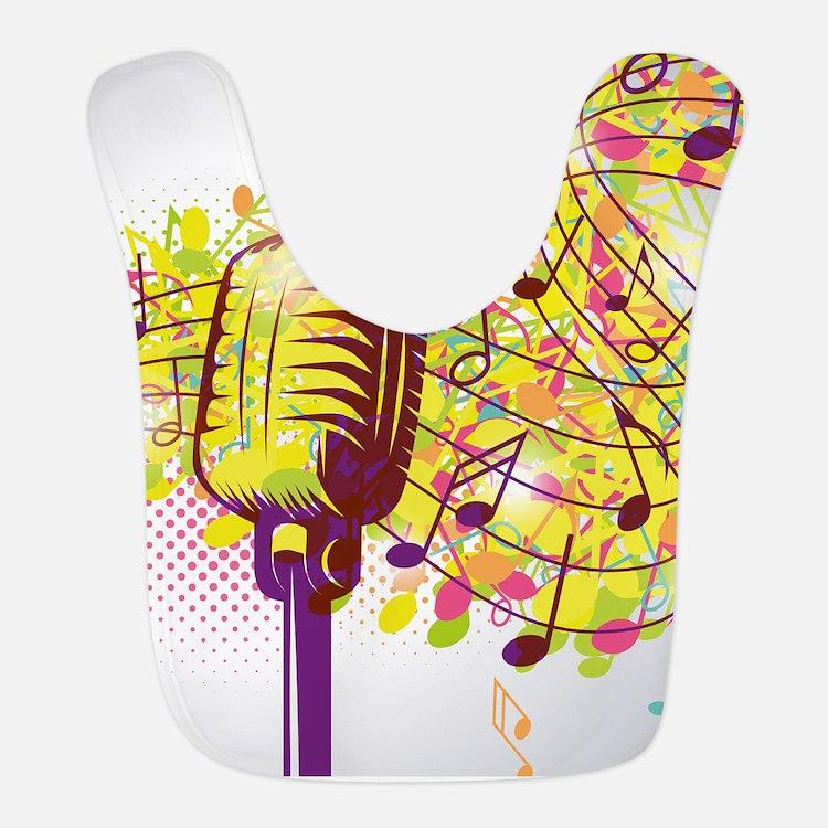 Colorful Retro Microphone Music Notes Bib