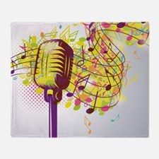 Colorful Retro Microphone Music Note Throw Blanket