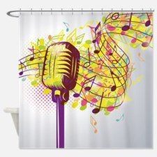 Colorful Retro Microphone Music Not Shower Curtain