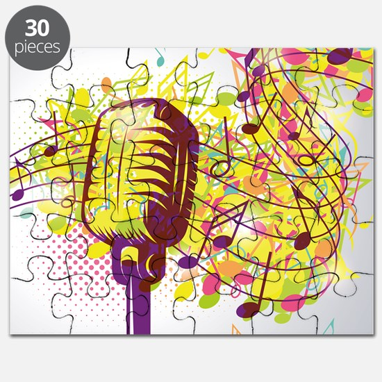Colorful Retro Microphone Music Notes Puzzle