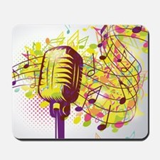 Colorful Retro Microphone Music Notes Mousepad