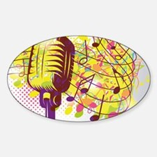 Colorful Retro Microphone Music Not Sticker (Oval)