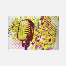 Colorful Retro Microphone Music N Rectangle Magnet