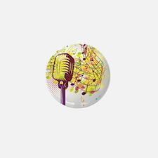 Colorful Retro Microphone Music Notes Mini Button