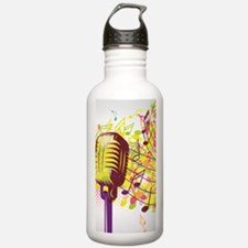 Colorful Retro Microph Water Bottle