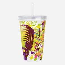 Colorful Retro Microph Acrylic Double-wall Tumbler