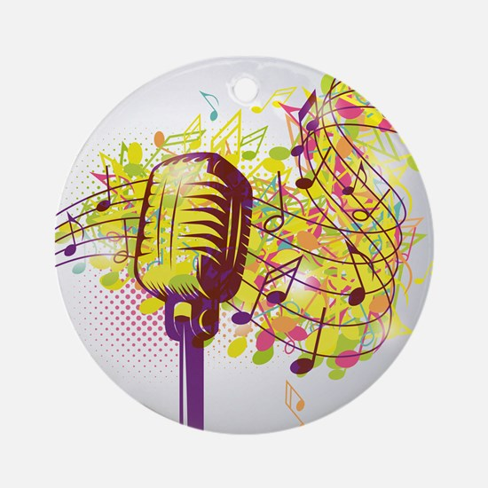 Colorful Retro Microphone Music Not Round Ornament