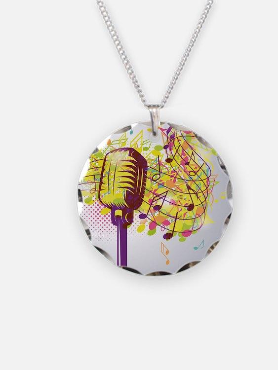 Colorful Retro Microphone Mu Necklace