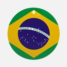 Brazilian Brazil Flag Round Ornament