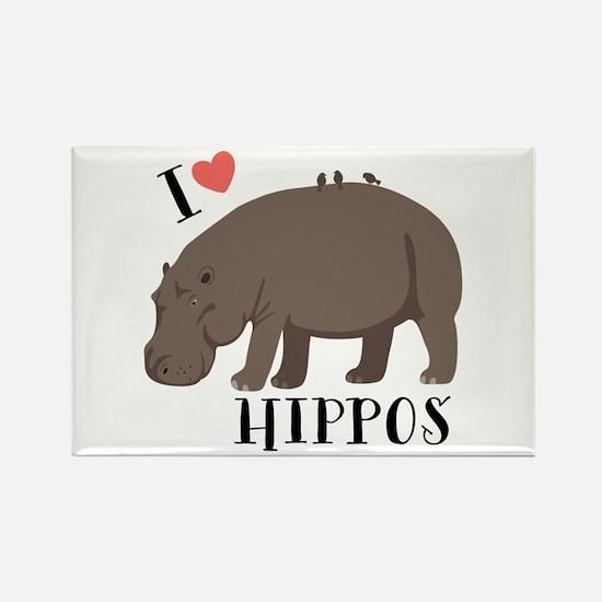 I Love Hippos Magnets