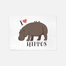 I Love Hippos 5'x7'Area Rug