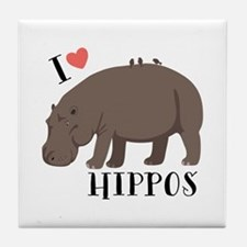 I Love Hippos Tile Coaster