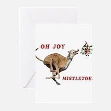 Greyhound Running to Mistletoe Greeting Cards