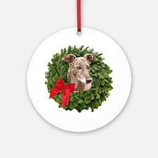 Greyhound in Christmas Wreath Round Ornament