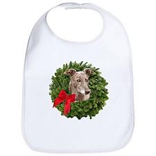 Greyhound in Christmas Wreath Bib