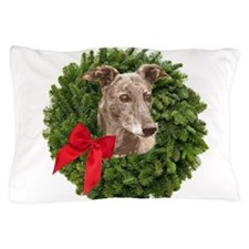 Greyhound in Christmas Wreath Pillow Case