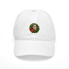 Greyhound in Christmas Wreath Baseball Cap
