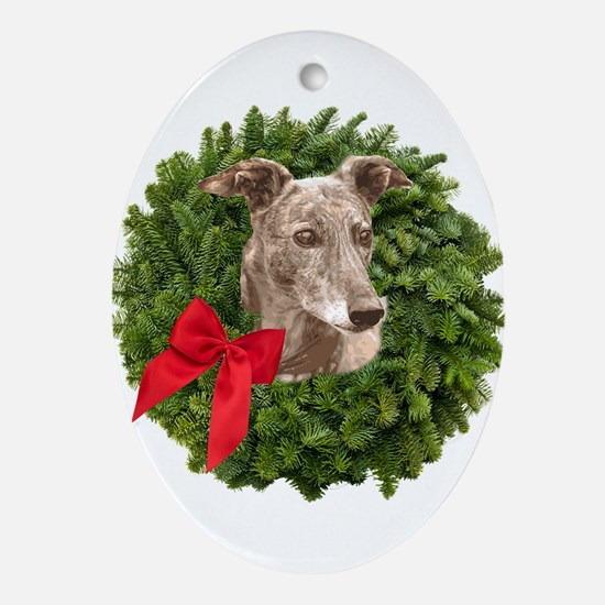 Greyhound in Christmas Wreath Oval Ornament