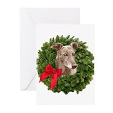 Greyhound in Christmas Wreath Greeting Cards