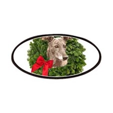 Greyhound in Christmas Wreath Patch