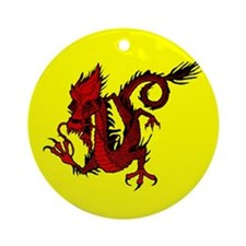 Red Asian Dragon Ornament (Round)