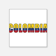 "Cute Colombia flag Square Sticker 3"" x 3"""