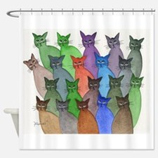 Cute Fun colorful delightful cat Shower Curtain