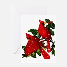 Snow Cardinals Greeting Card