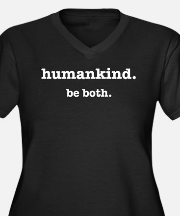HumanKind. Women's Plus Size V-Neck Dark T-Shirt