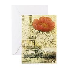 rustic paris poppy flower Greeting Cards