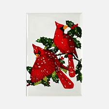 Snow Cardinals Rectangle Magnet (100 pack)