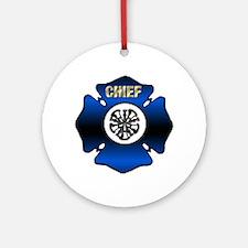 Fire Chief Gold Maltese Cross Round Ornament