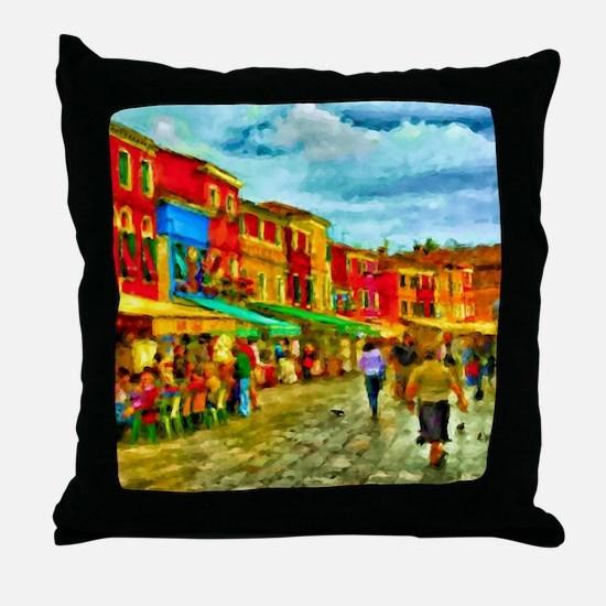 Italy Street Scene Throw Pillow