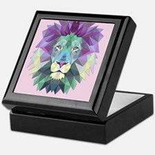 Triangle Colorful Lion Head Keepsake Box