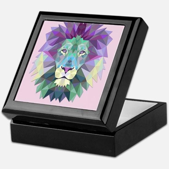Triangle Colorful Lion Head Keepsake Box