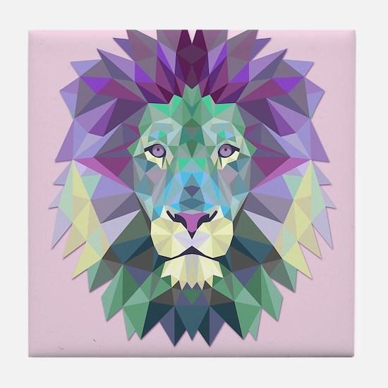 Triangle Colorful Lion Head Tile Coaster