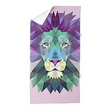 Triangle Colorful Lion Head Beach Towel