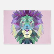 Triangle Colorful Lion Head 5'x7'Area Rug