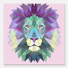"Triangle Colorful Lion Head Square Car Magnet 3"" x"