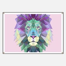 Triangle Colorful Lion Head Banner
