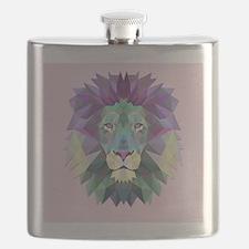 Triangle Colorful Lion Head Flask