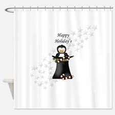 Happy Holiday's Top Hat Penguin Shower Curtain